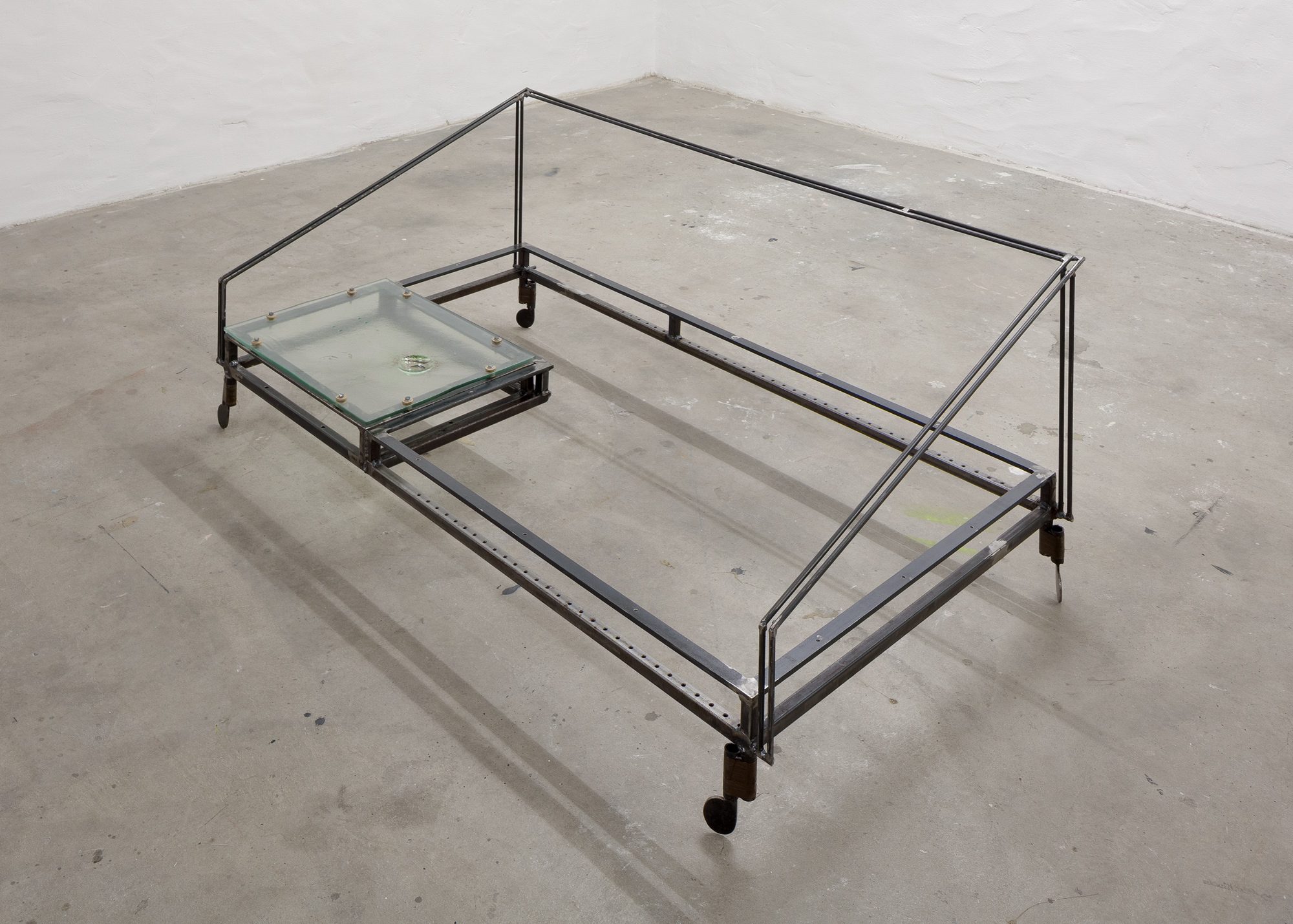 table (glass) │ metal, glass │ 2016-19 │ 40cm x 145cm x 107cm