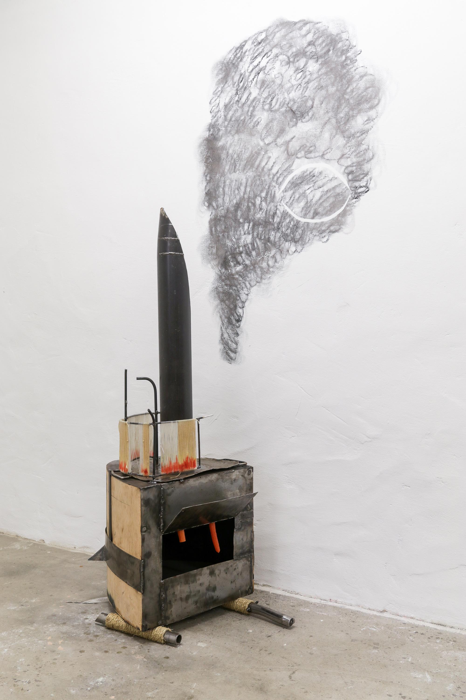 Untitled (Auge) │ metal, plastic, wood, fabric, charcoal │ 2017-19 │ 150cm x 90cm x 50cm