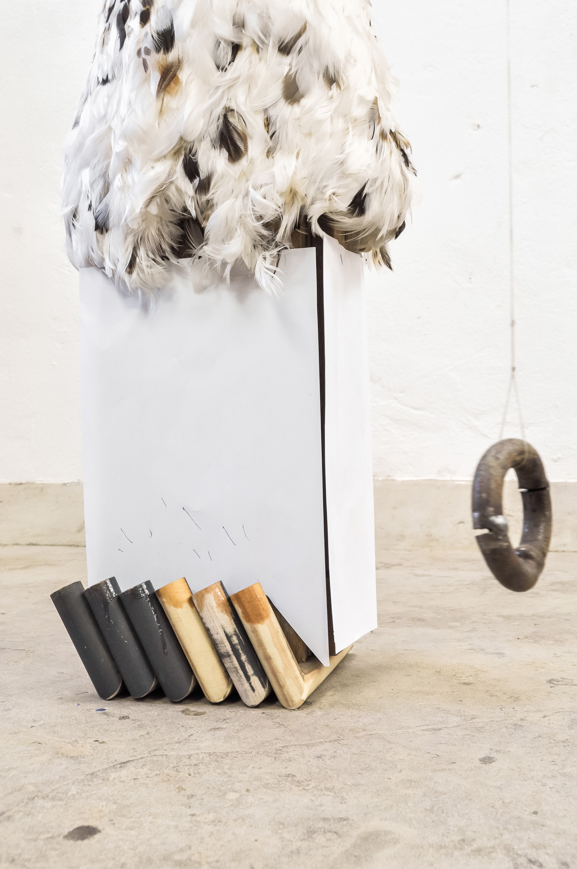 Untitled  │ metal, wood, feather, paper │ 2012-20 │ 92cm x 40cm x 60cm